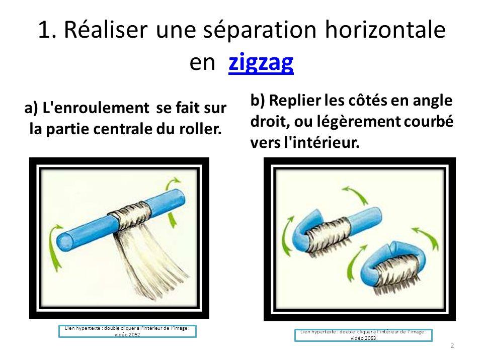 1. Réaliser une séparation horizontale en zigzagzigzag a) L'enroulement se fait sur la partie centrale du roller. b) Replier les côtés en angle droit,