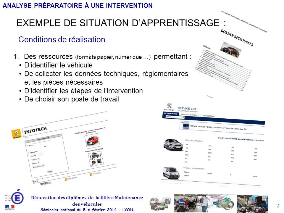 2 Rénovation des diplômes de la filière Maintenance des véhicules Séminaire national du 5-6 février 2014 - LYON ANALYSE PRÉPARATOIRE À UNE INTERVENTIO
