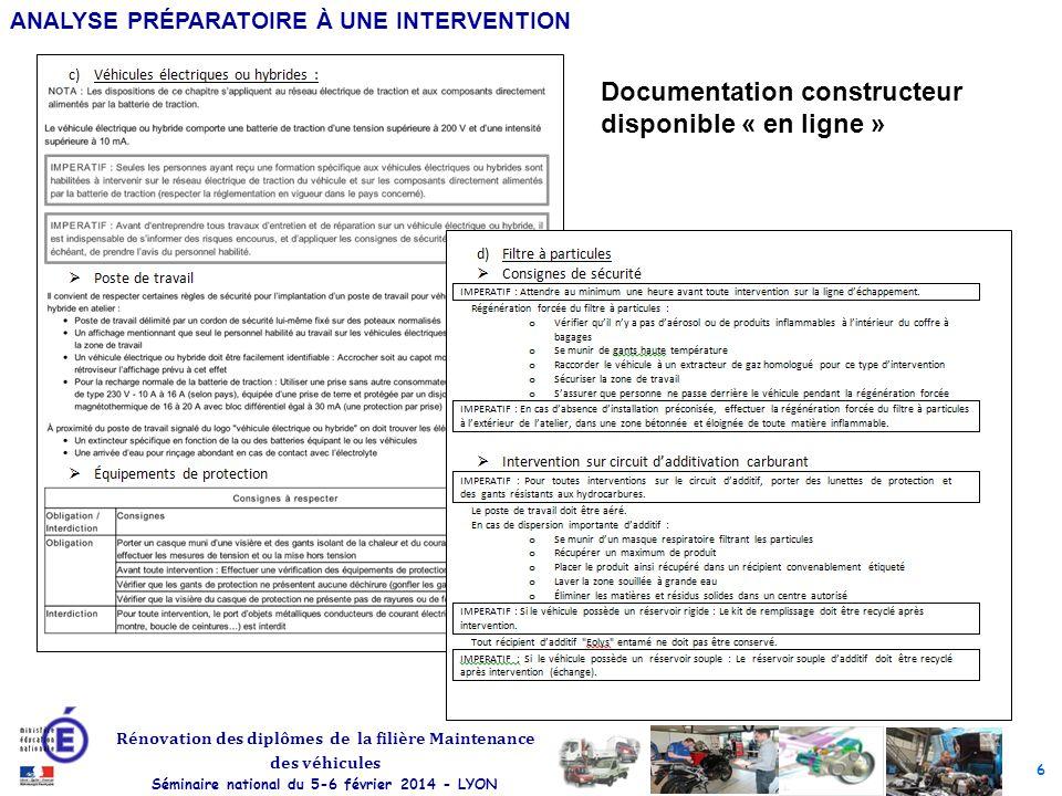 6 Rénovation des diplômes de la filière Maintenance des véhicules Séminaire national du 5-6 février 2014 - LYON ANALYSE PRÉPARATOIRE À UNE INTERVENTIO
