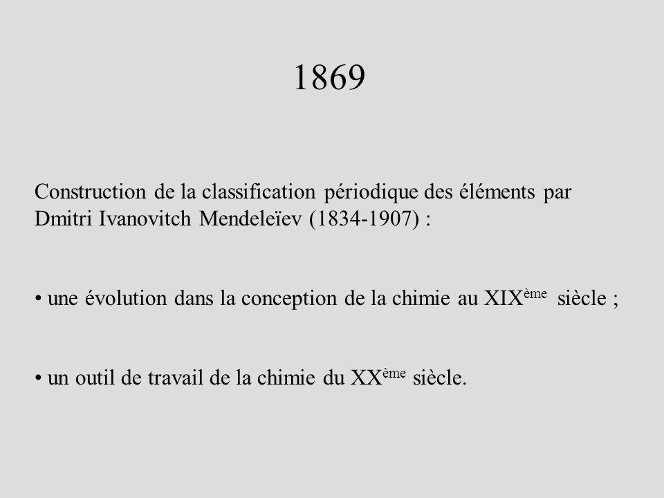 1869 Construction de la classification périodique des éléments par Dmitri Ivanovitch Mendeleïev (1834-1907) : une évolution dans la conception de la c