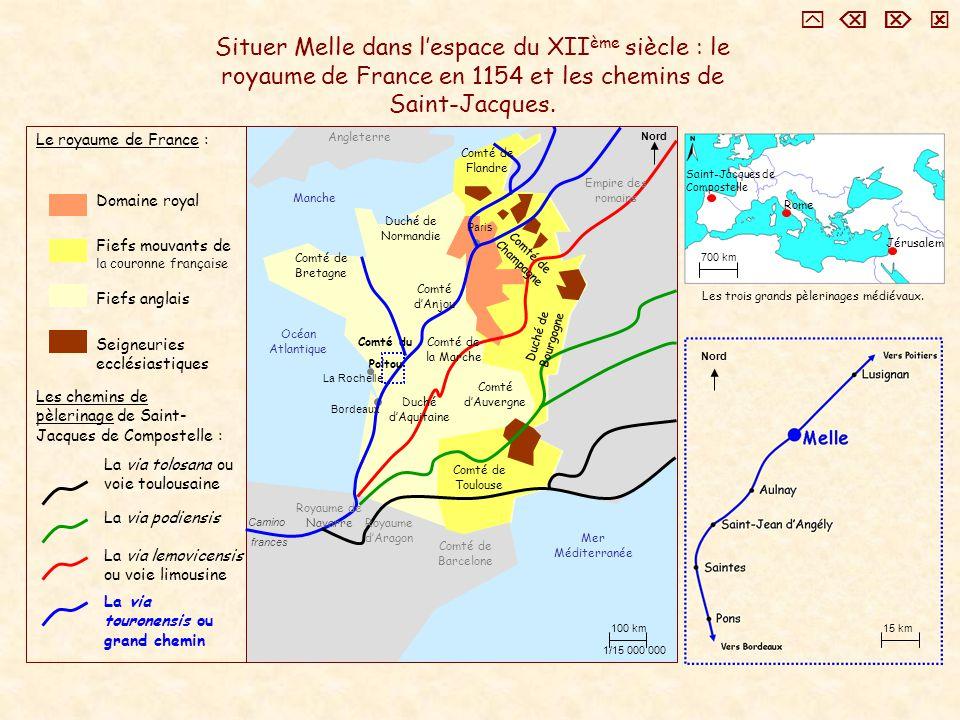 Situer Melle dans lespace du XII ème siècle : le royaume de France en 1154 et les chemins de Saint-Jacques. Nord 100 km 1/15 000 000 Domaine royal Fie