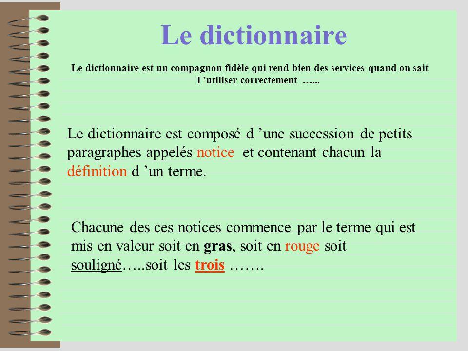 Le dictionnaire Le dictionnaire est un compagnon fidèle qui rend bien des services quand on sait l utiliser correctement …...