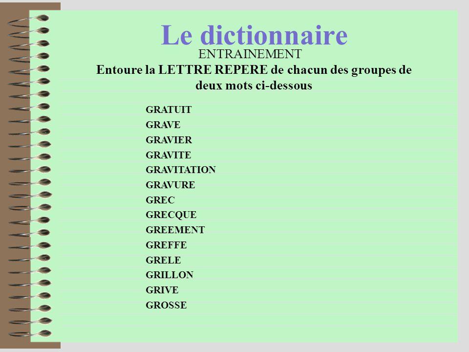 Le dictionnaire LA LETTRE REPERE GRAtuit et GRAve commencent par les mêmes lettres.
