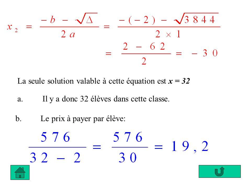 La seule solution valable à cette équation est x = 32 a. Il y a donc 32 élèves dans cette classe. b. Le prix à payer par élève: