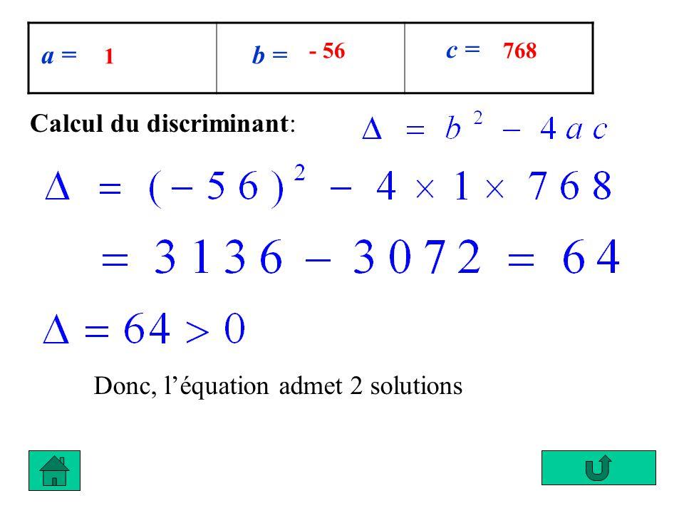 a = b = c = 1 - 56768 Calcul du discriminant: Donc, léquation admet 2 solutions