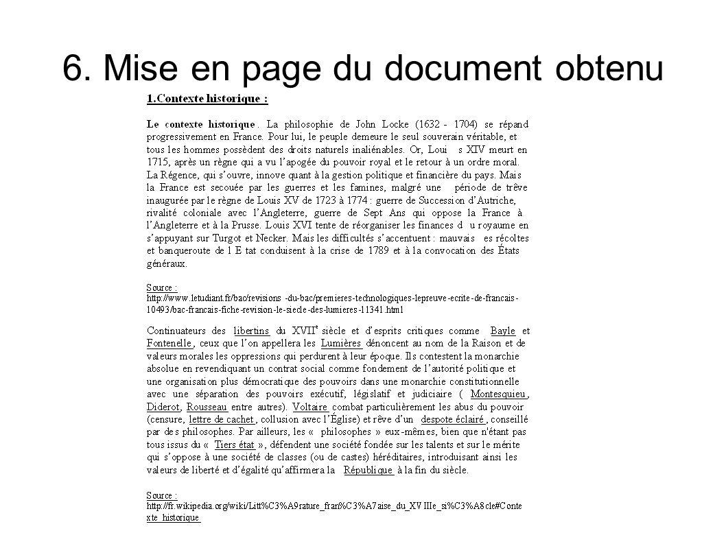 6. Mise en page du document obtenu