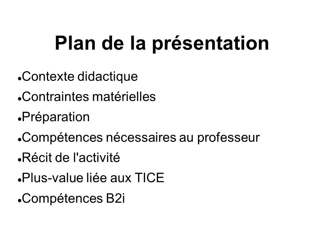 Plan de la présentation Contexte didactique Contraintes matérielles Préparation Compétences nécessaires au professeur Récit de l activité Plus-value liée aux TICE Compétences B2i