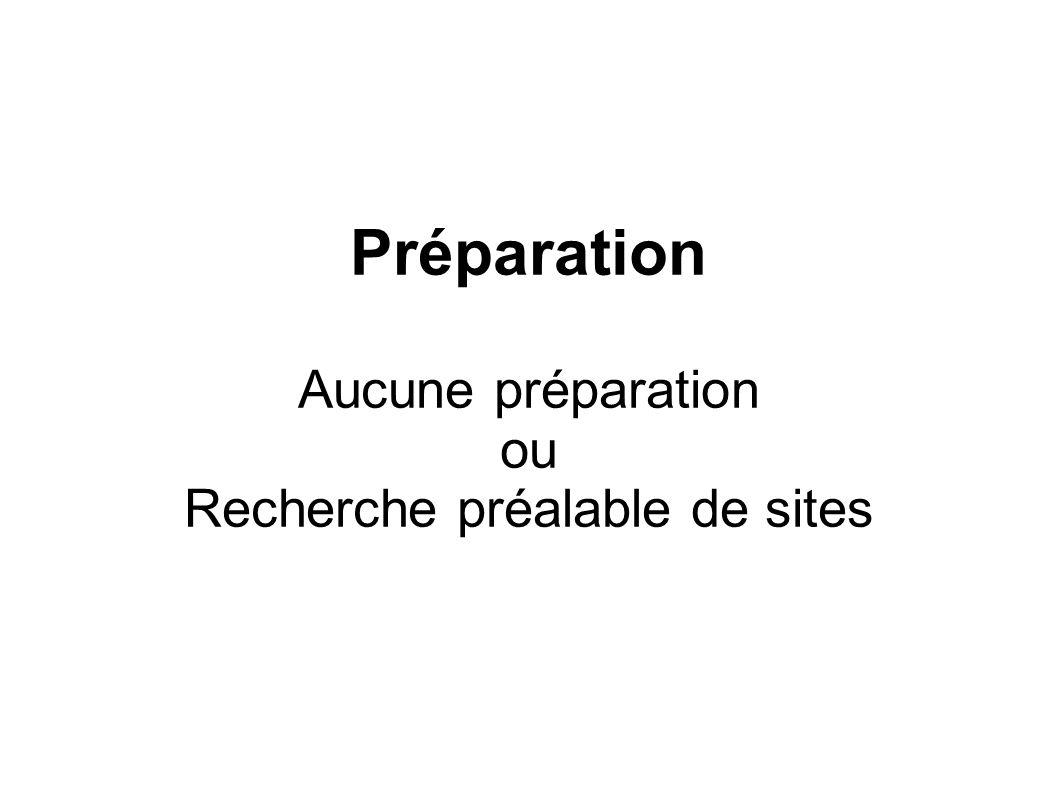 Préparation Aucune préparation ou Recherche préalable de sites