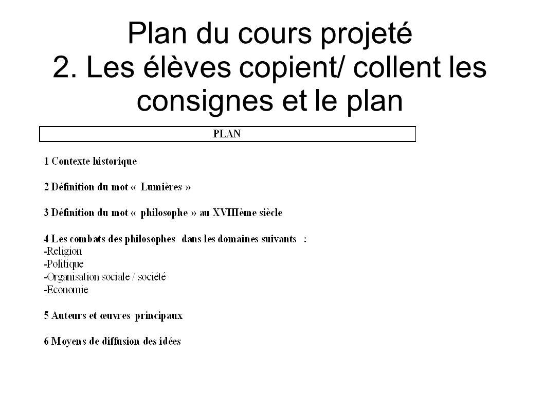 Plan du cours projeté 2. Les élèves copient/ collent les consignes et le plan