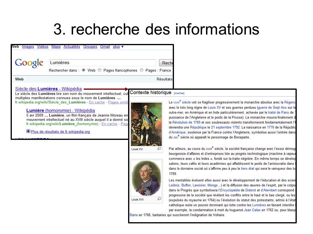 3. recherche des informations