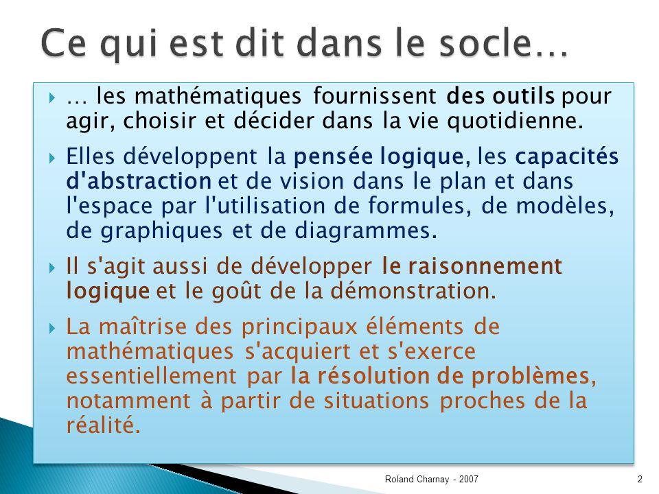 Plusieurs supports de présentation Vécu Dessin, schéma, document Oral Ecrit Aux cycles 1 et 2, le travail sur fiche est peu favorable, dans la phase dapprentissage Roland Charnay - 200723