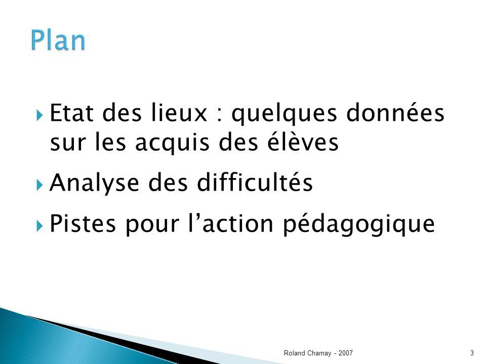 Etat des lieux : quelques données sur les acquis des élèves Analyse des difficultés Pistes pour laction pédagogique Roland Charnay - 20073