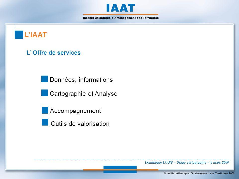 Dominique LOUIS – Stage cartographie – 8 mars 2006 L Offre de services Données, informations Cartographie et Analyse LIAAT Accompagnement Outils de va