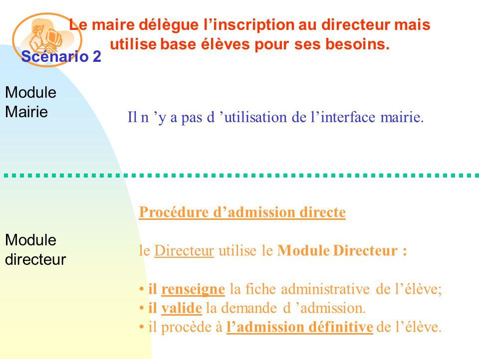 Module Mairie Module directeur Le maire délègue linscription au directeur mais utilise base élèves pour ses besoins.