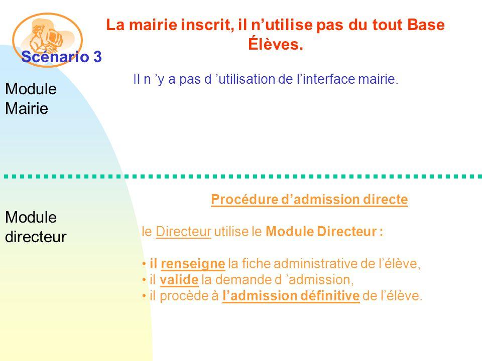 Module Mairie Module directeur La mairie inscrit, il nutilise pas du tout Base Élèves.