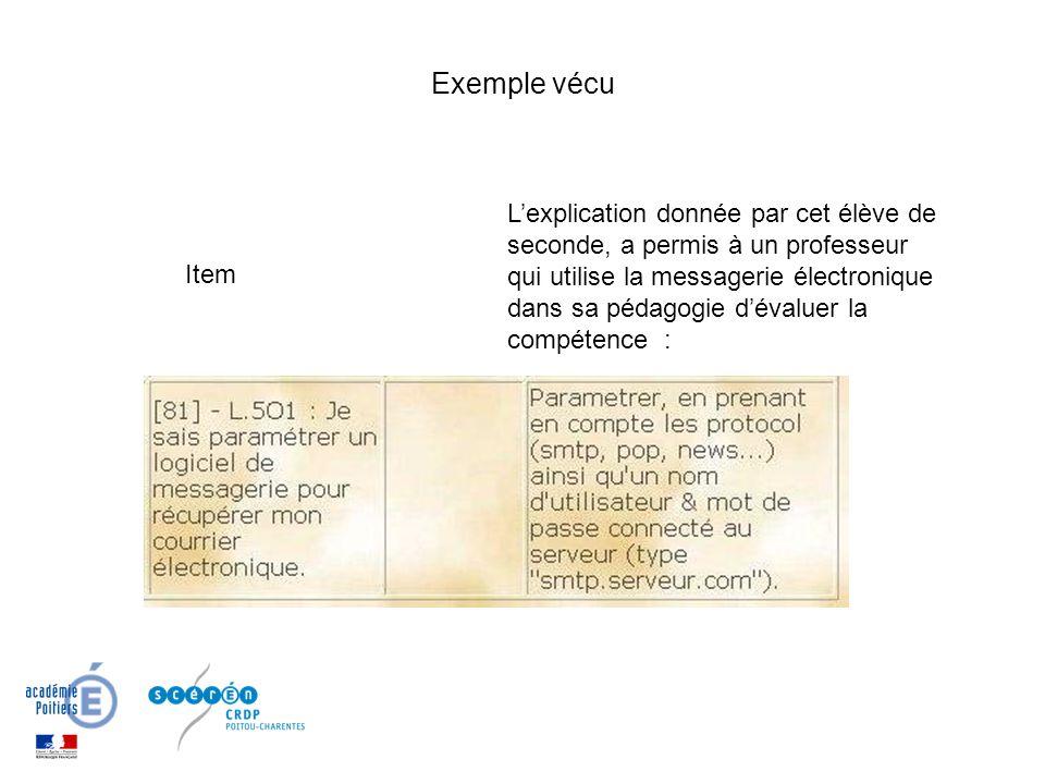 Exemple vécu Item Lexplication donnée par cet élève de seconde, a permis à un professeur qui utilise la messagerie électronique dans sa pédagogie déva