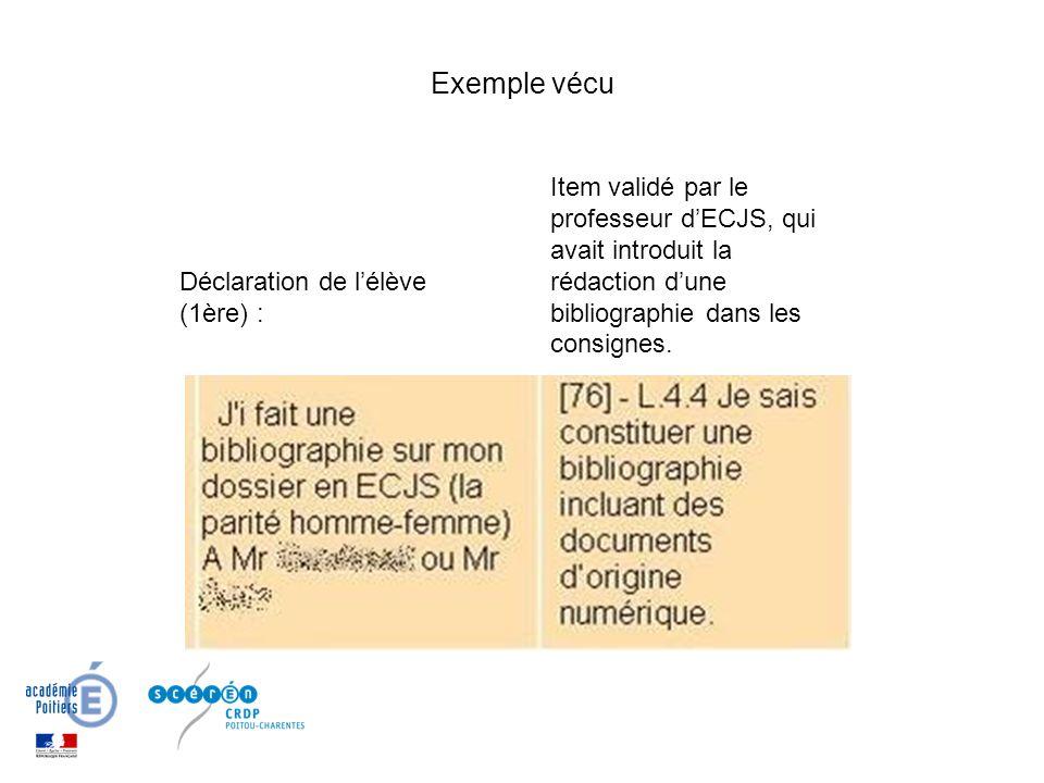 Déclaration de lélève (1ère) : Exemple vécu Item validé par le professeur dECJS, qui avait introduit la rédaction dune bibliographie dans les consigne