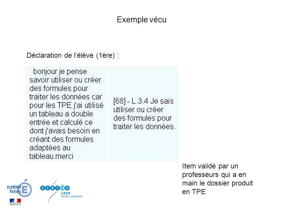 Exemple vécu Item validé par un professeurs qui a en main le dossier produit en TPE Déclaration de lélève (1ère) :