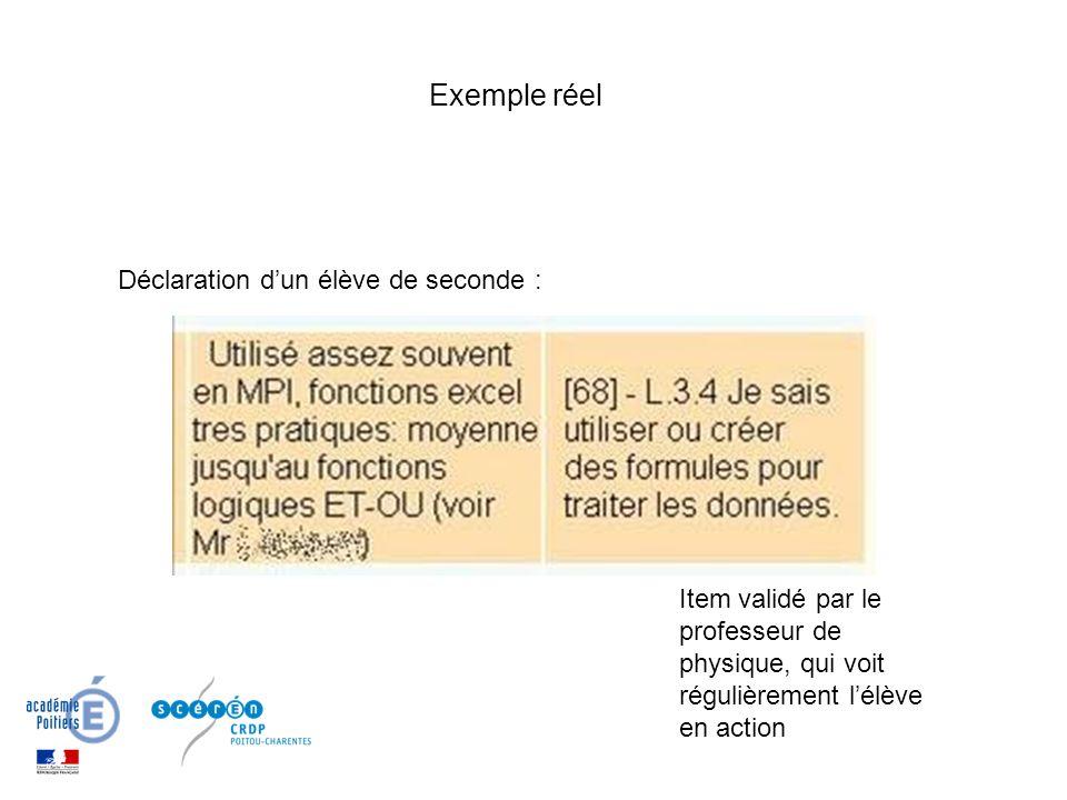 Exemple réel Item validé par le professeur de physique, qui voit régulièrement lélève en action Déclaration dun élève de seconde :