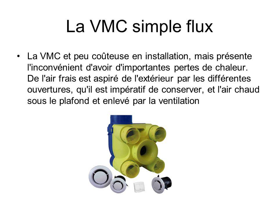 La VMC simple flux La VMC et peu coûteuse en installation, mais présente l'inconvénient d'avoir d'importantes pertes de chaleur. De l'air frais est as