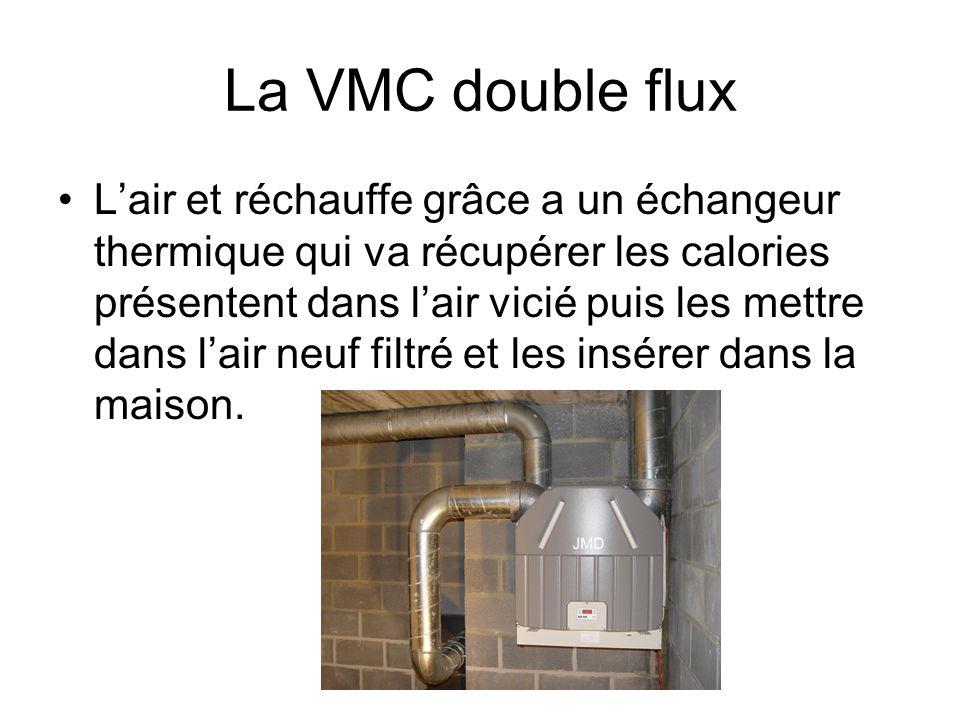 La VMC double flux Lair et réchauffe grâce a un échangeur thermique qui va récupérer les calories présentent dans lair vicié puis les mettre dans lair
