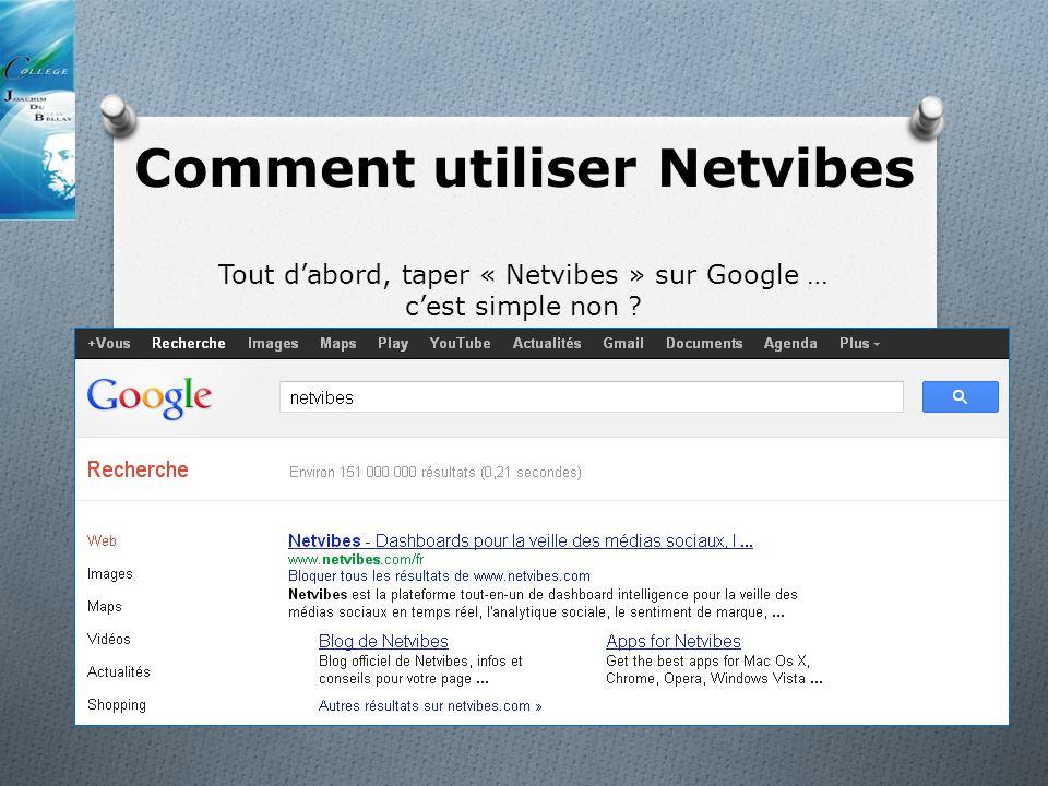 Comment utiliser Netvibes Tout dabord, taper « Netvibes » sur Google … cest simple non