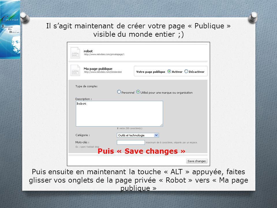 Il sagit maintenant de créer votre page « Publique » visible du monde entier ;) Puis ensuite en maintenant la touche « ALT » appuyée, faites glisser vos onglets de la page privée « Robot » vers « Ma page publique » Puis « Save changes »