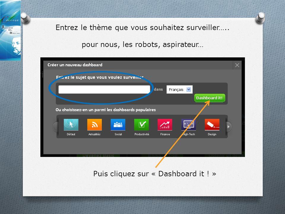Entrez le thème que vous souhaitez surveiller….. pour nous, les robots, aspirateur… Puis cliquez sur « Dashboard it ! »