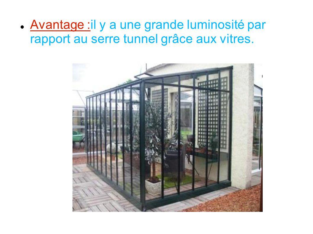 Avantage :il y a une grande luminosité par rapport au serre tunnel grâce aux vitres.