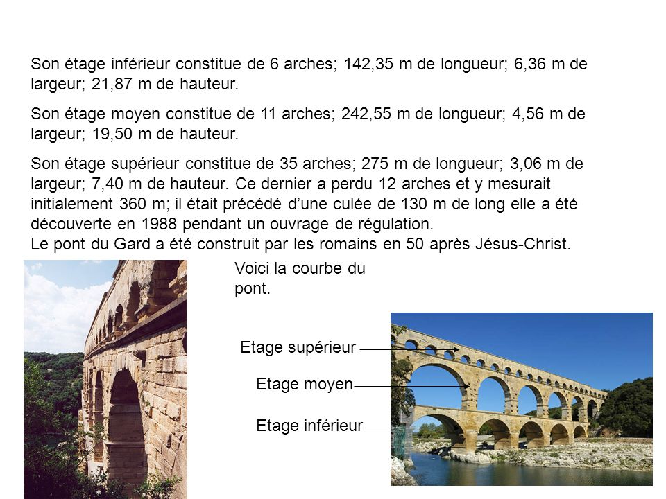 Sa longueur dans le 2è et 3è étage est: -2è étage: 360 m -3è étage: 275 m Construit sur 3 étages avec des pierres extraites sur les mêmes lieux dans la carrière romaine environnantes, le sommet du pont domine le Gard.