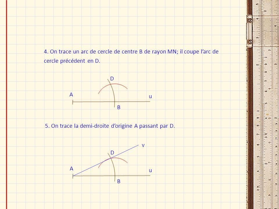 4. On trace un arc de cercle de centre B de rayon MN; il coupe larc de cercle précédent en D. u A B D 5. On trace la demi-droite dorigine A passant pa