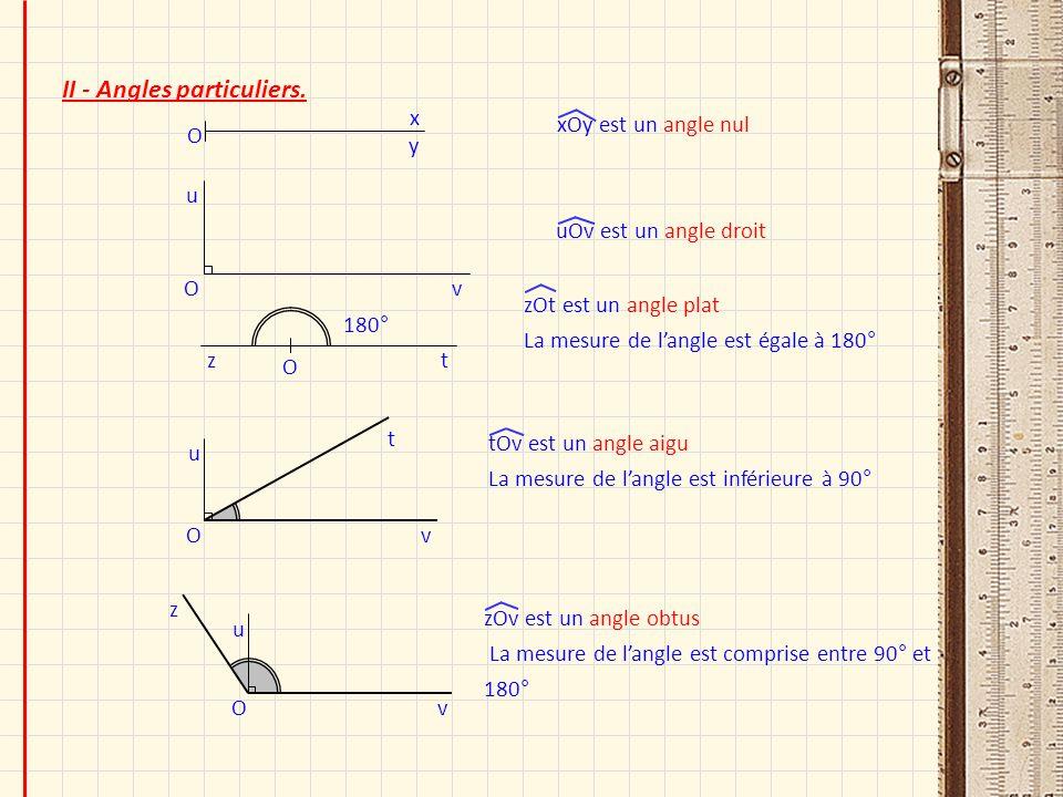 II - Angles particuliers. O u v t O u v z O y x O u v O zt xOy est un angle nul uOv est un angle droit zOt est un angle plat La mesure de langle est é