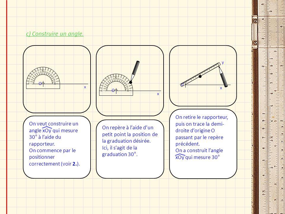 c) Construire un angle. On repère à laide dun petit point la position de la graduation désirée. Ici, il sagit de la graduation 30°. O x On veut constr