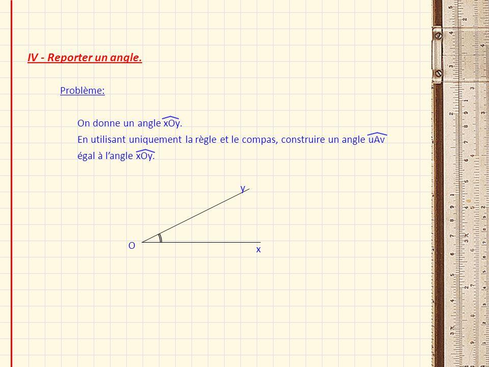 IV - Reporter un angle. Problème: On donne un angle xOy. En utilisant uniquement la règle et le compas, construire un angle uAv égal à langle xOy. O x
