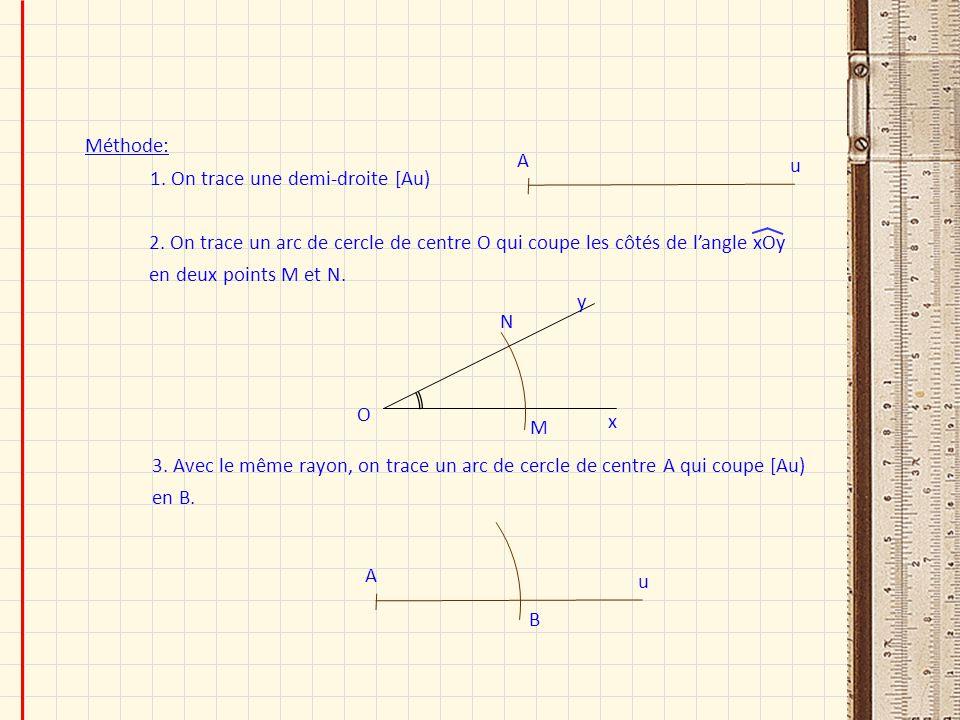 Méthode: 1. On trace une demi-droite [Au) u A 2. On trace un arc de cercle de centre O qui coupe les côtés de langle xOy en deux points M et N. O x y