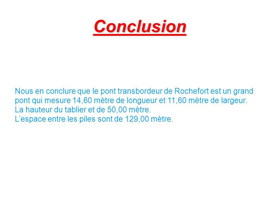 Conclusion Nous en conclure que le pont transbordeur de Rochefort est un grand pont qui mesure 14,60 mètre de longueur et 11,60 mètre de largeur. La h