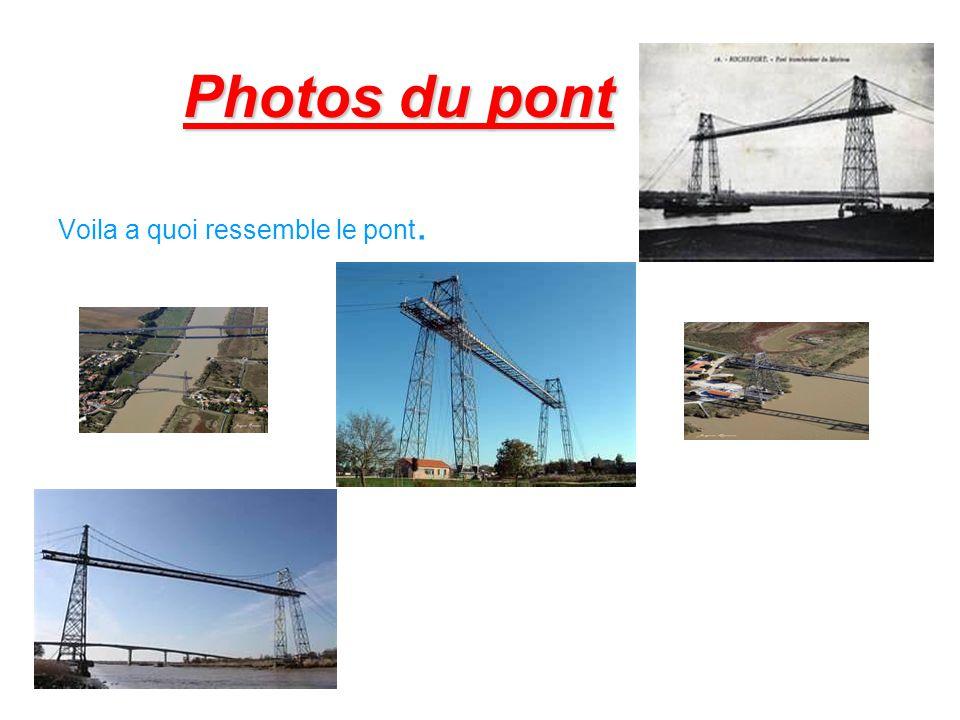 Description du pont Espace entre les piles : 129,00 mètres Longueur du tablier entre les axes des pylônes : 139,75 mètres Hauteur du tablier au-dessus des plus hautes eaux : 50,00 mètres Largeur entre les poutres des rails : 8,00 mètres Hauteur des pylônes au-dessus des piles maçonnées : 66,25 mètres Longueur totale du tablier : 175,50 mètres Nacelle: longueur: 14,60 mètres largeur: 11,60 mètres Piles en maçonnerie: rive droite, 20 mètres de profondeur rive gauche, 8,50 mètres de profondeur
