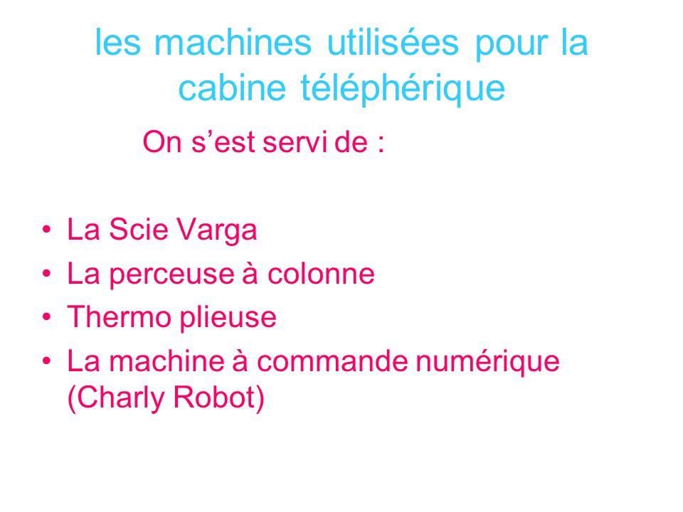 les machines utilisées pour la cabine téléphérique On sest servi de : La Scie Varga La perceuse à colonne Thermo plieuse La machine à commande numériq
