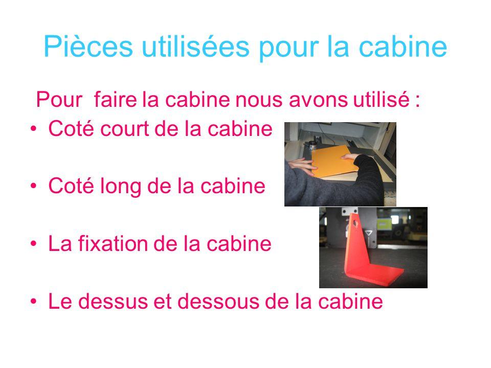 Pièces utilisées pour la cabine Pour faire la cabine nous avons utilisé : Coté court de la cabine Coté long de la cabine La fixation de la cabine Le d