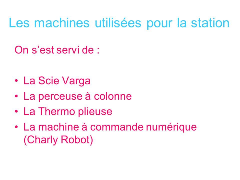 Les machines utilisées pour la station On sest servi de : La Scie Varga La perceuse à colonne La Thermo plieuse La machine à commande numérique (Charl