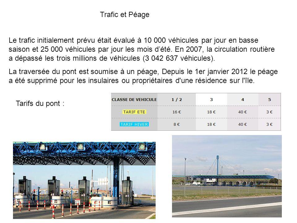 Trafic et Péage Le trafic initialement prévu était évalué à 10 000 véhicules par jour en basse saison et 25 000 véhicules par jour les mois dété.