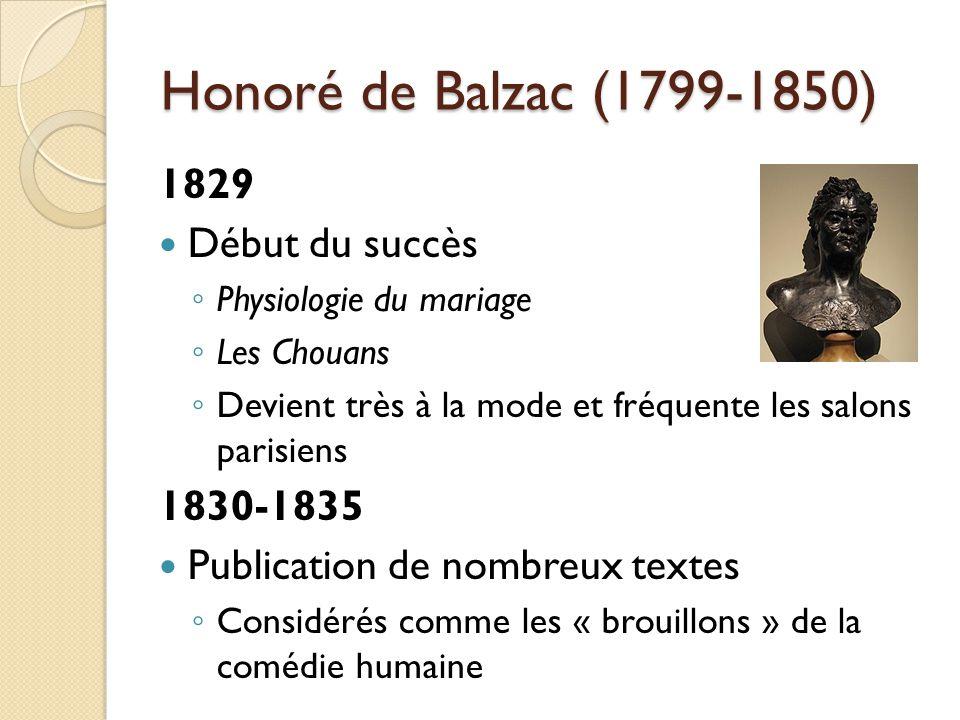 Honoré de Balzac (1799-1850) 1829 Début du succès Physiologie du mariage Les Chouans Devient très à la mode et fréquente les salons parisiens 1830-1835 Publication de nombreux textes Considérés comme les « brouillons » de la comédie humaine