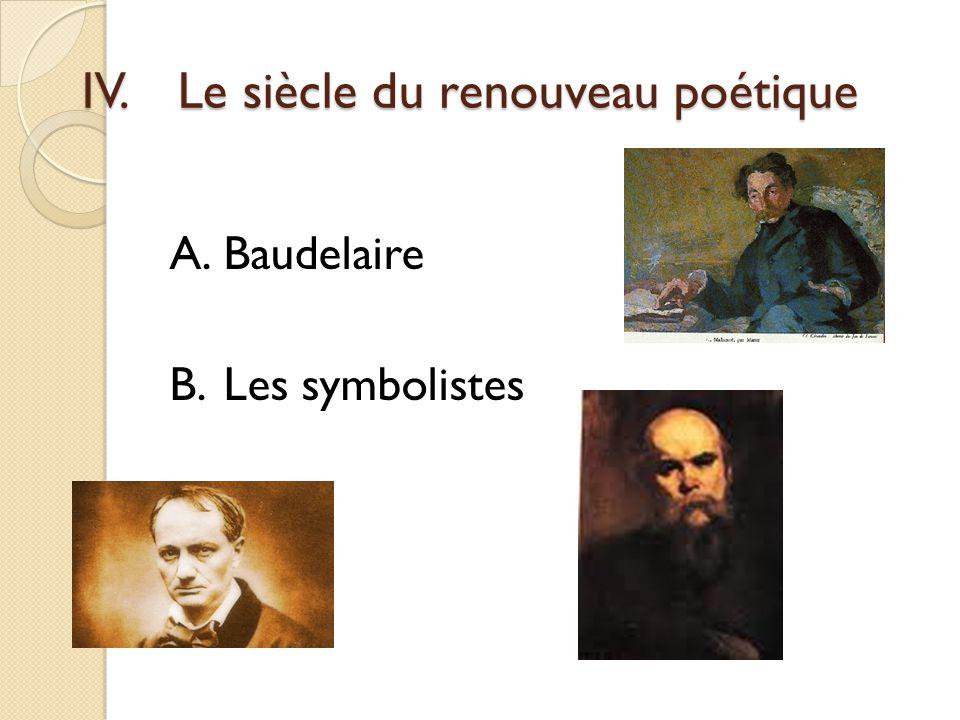IV.Le siècle du renouveau poétique A.Baudelaire B.Les symbolistes