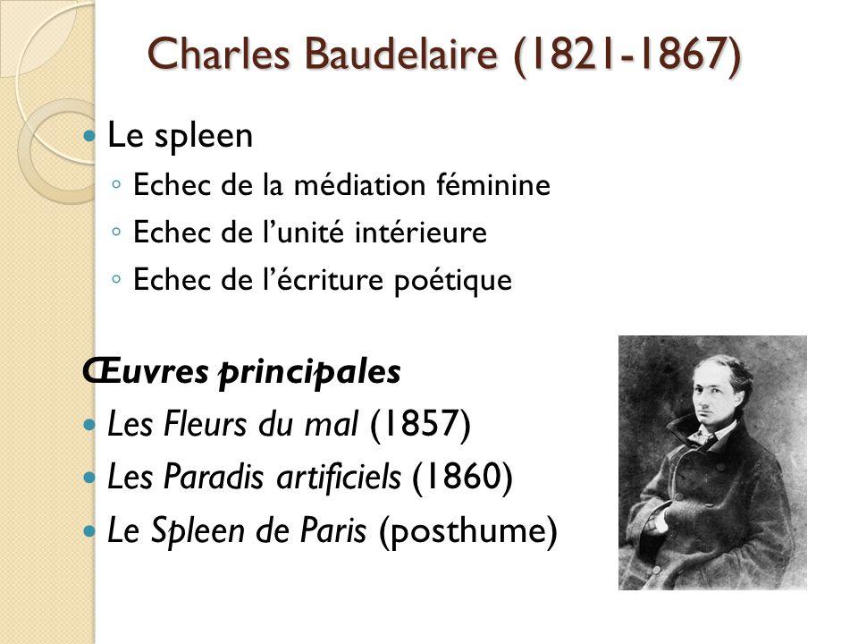 Charles Baudelaire (1821-1867) Le spleen Echec de la médiation féminine Echec de lunité intérieure Echec de lécriture poétique Œuvres principales Les Fleurs du mal (1857) Les Paradis artificiels (1860) Le Spleen de Paris (posthume)