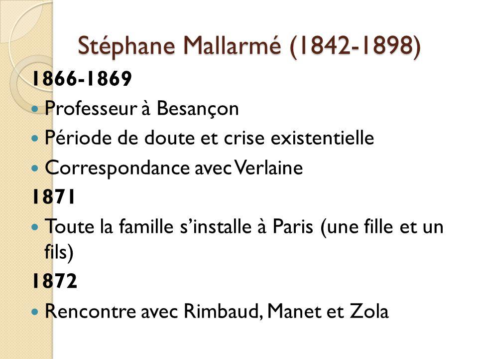 Stéphane Mallarmé (1842-1898) 1866-1869 Professeur à Besançon Période de doute et crise existentielle Correspondance avec Verlaine 1871 Toute la famille sinstalle à Paris (une fille et un fils) 1872 Rencontre avec Rimbaud, Manet et Zola