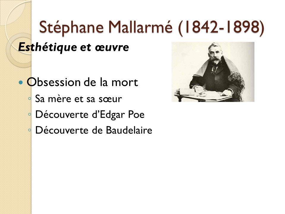 Stéphane Mallarmé (1842-1898) Esthétique et œuvre Obsession de la mort Sa mère et sa sœur Découverte dEdgar Poe Découverte de Baudelaire