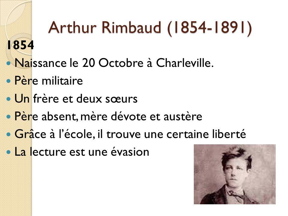 Arthur Rimbaud (1854-1891) 1854 Naissance le 20 Octobre à Charleville.
