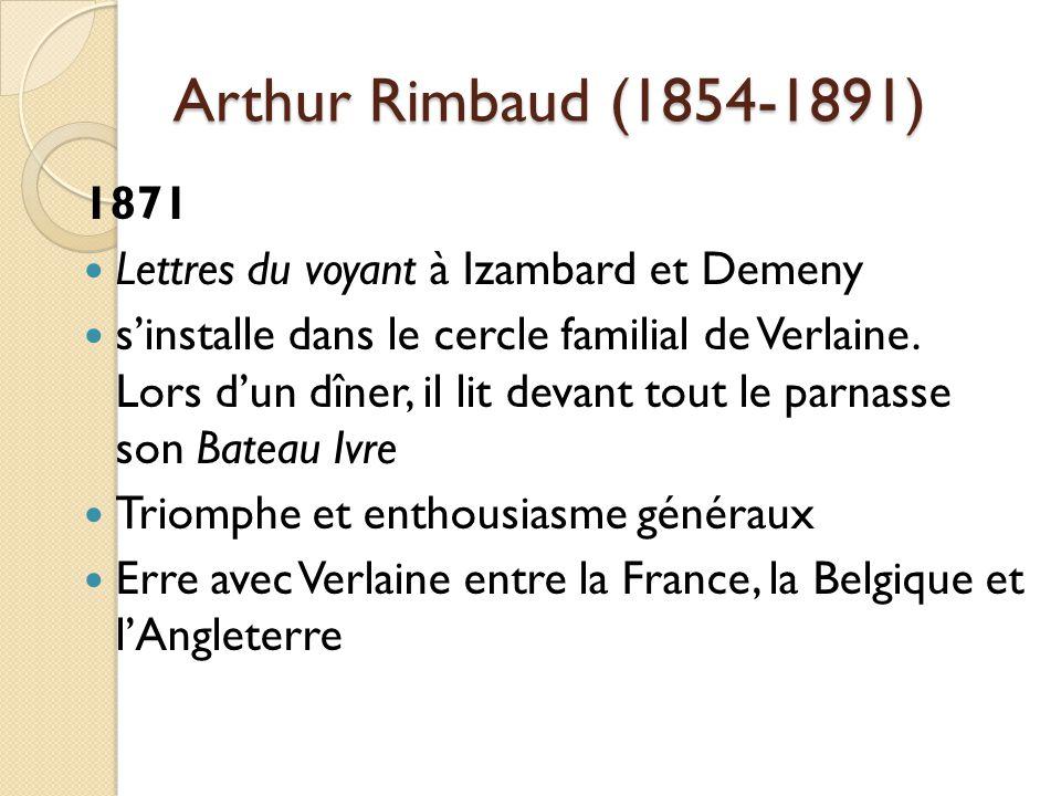Arthur Rimbaud (1854-1891) 1871 Lettres du voyant à Izambard et Demeny sinstalle dans le cercle familial de Verlaine.