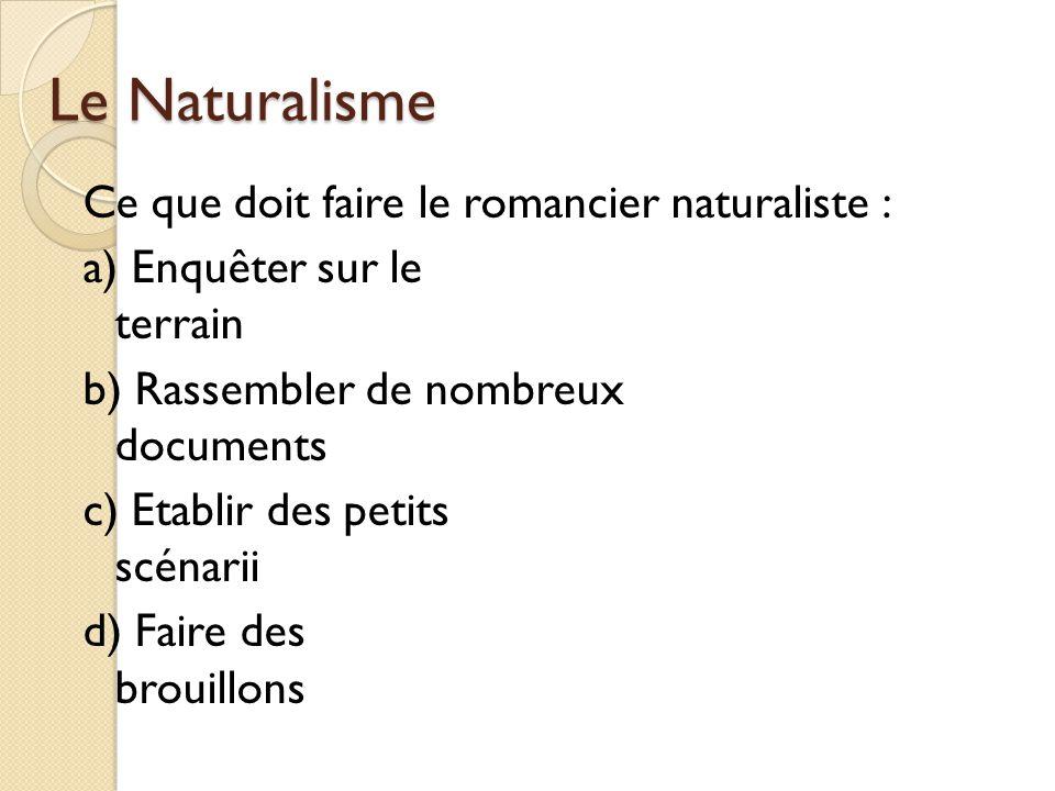 Le Naturalisme Ce que doit faire le romancier naturaliste : a) Enquêter sur le terrain b) Rassembler de nombreux documents c) Etablir des petits scénarii d) Faire des brouillons
