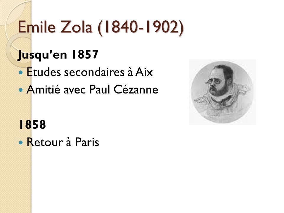 Emile Zola (1840-1902) Jusquen 1857 Etudes secondaires à Aix Amitié avec Paul Cézanne 1858 Retour à Paris